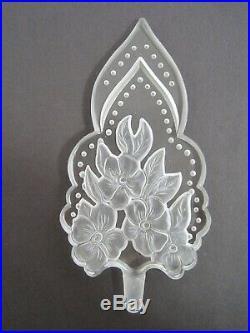 Vintage antique ART DECO CRYSTAL PERFUME BOTTLE intaglio flowers czech 6.5