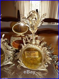 Vntg Amber 24K Gold Plate filigree Ormolu Perfume Bottles, tray & Jewelry casket