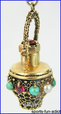 Vtg 14K Multi Semi-Precious Gemstone Yellow Gold Chatelaine Perfume Bottle Charm