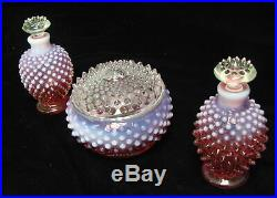 Vtg 1940's Fenton Glass Cranberry Opalescent Hobnail Vanity Set Perfume Powder
