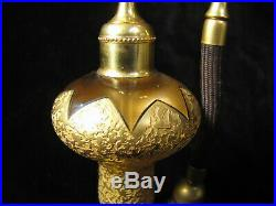 Vtg Beautiful Rare Antique Devilbiss Gold Etched Glass Atomizer Perfume Bottle