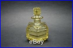Vtg Czech Art Deco perfume bottle, Citrine Glass Black Enamel Karl Palda