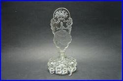 Vtg Czech Art Deco perfume bottle, Clear Crystal Glass Stopper with Dauber