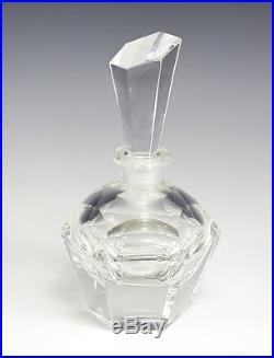 Vtg Czech Bohemia Clear Art glass Perfume Bottle, faceted with angled stopper