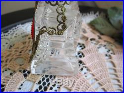 Vtg Czech Clear Perfume Bottle withBrass Ormalu & Red Jewels Acid Marked