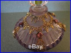 Vtg Czech Purple & Dark Yellow Perfume Bottle withBrass Ormalu Marked withDauber