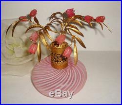 Vtg DEVILBISS Pink Murano Candy Stripe Floral Perfume Bottle Italy Vanity Decor