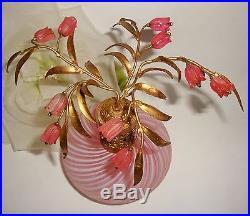 Vtg DEVILBISS Pink Murano Candy Stripe Flowers Top Perfume Bottle RARE