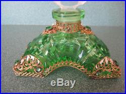 Vtg Green & Clear Czech Perfume Bottle-Woman Wearing A Plumed Hat Acid Marked