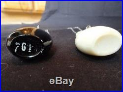 Vtg Halston Perfume Bottles Pendants Design Elsa Peretti Black White Glass Chain