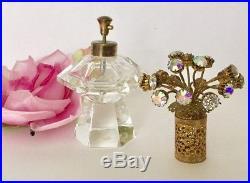 Vtg Irice Ab Rhinestones Large Topper Cut Crystal Perfume Bottle Vanity Rare