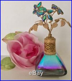 Vtg Irice Rhinestone Flowers Top Perfume Bottle Vanity Collectible