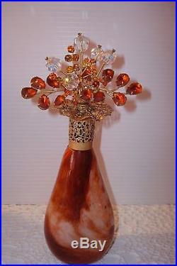 Vtg Irice Rhinestone Perfume Bottle Lovely Jeweled Amber Toppermarble Base