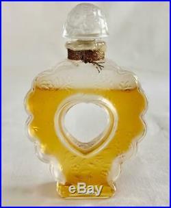 Vtg. Lalique 3.5 Perfume Bottle Nina Ricci Coeur Joie Open Heart Etched