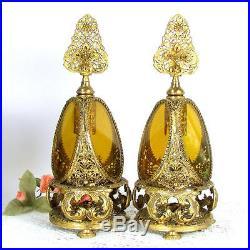 Vtg ORMOLU FILIGREE PERFUME Bottle 2 Amber Glass Roses Pair Lg Bottles Matson