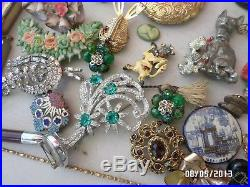 Vtg Old Antique Jewelry Lot Pins, Necklace, Brooches, Perfume Bottle, Victorian Rare