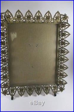 Vtg Ormolu Filigree Vanity Set Casket Perfume Bottles Frame 4 Pieces Roses