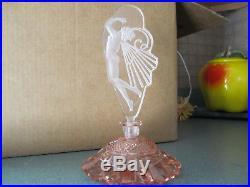 Vtg Rare Pink Czech Nude Butterfly Woman Perfume Bottle 8.5 withDauber