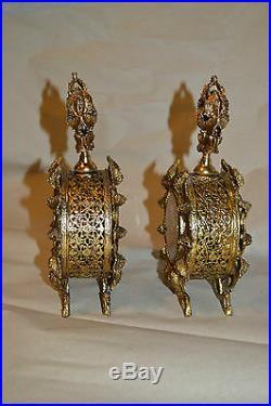 Vtg Victorian style ornate Gold Brass Pierced Amber Glass Perfume Bottles