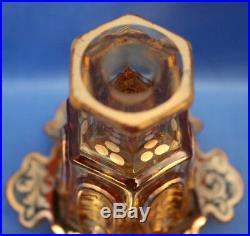 Vtg antique Boston & Sandwich Glass AMBER GOLD OVERLAY SIX LOBE Perfume+Stopper